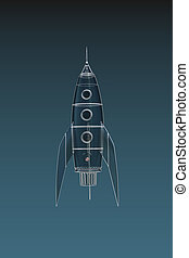 space rocket isolated on blue background