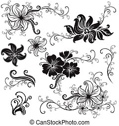 "Set of black floral design elements (from my ""Big floral..."