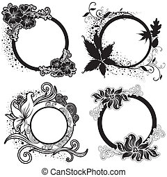 "Set of Vector Floral vintage black frames (From my ""Floral..."