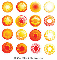 abstract glossy sun icons - Vector set of abstract glossy...