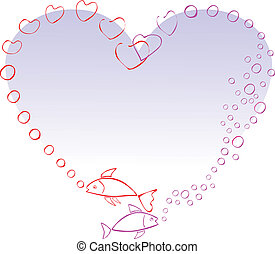 Two fish in love, making a heart with air bubbles