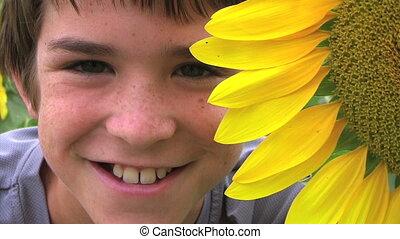 Boy Beside Sunflower - Close-up of boy beside sunflower,...
