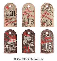 Set of vintage labels numbered for Halloween party. Vector...