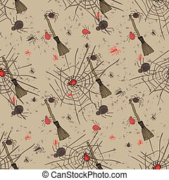 Vintage seamless pattern for Halloween party. Vector...