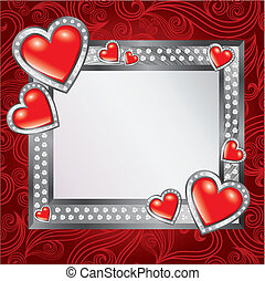 Saint Valentines Day - Vector frame background with jewel...