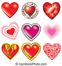 Saint Valentines Day - Vector set of hearts illustration-...