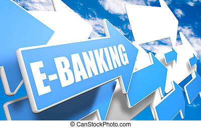 E-Banking 3d render concept with blue and white arrows...