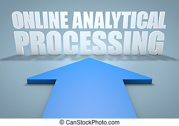 Online Analytical Processing - 3d render concept of blue...