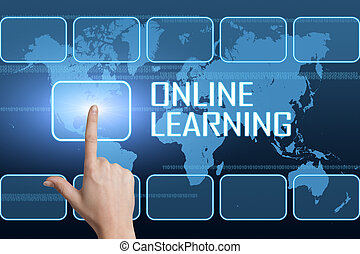 Online Learning concept with interface and world map on blue...