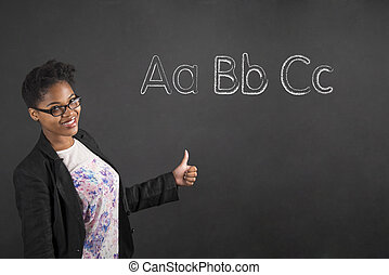 African American woman with thumbs up hand signal alphabet