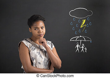 African American woman thinking about an insurance concept -...