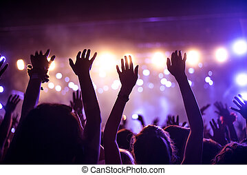 Put your hands up in the air! - A crowd of people...