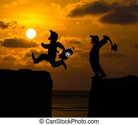 Concept cartoon silhouette, Man hold axe and Man jumping...