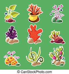Cartoon underwater plants and creatures - Set of cartoon...