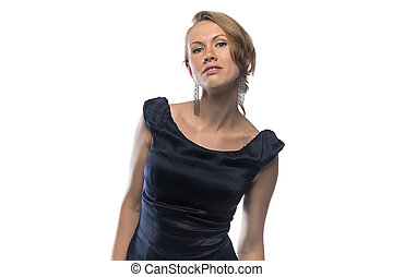 Photo of woman in black cocktail dress