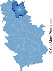 Map of Serbia, Subdivision Central Banat District is pulled...