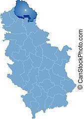 Map of Serbia, Subdivision North Banat District is pulled...