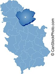 Map of Serbia, Subdivision South Banat District is pulled...