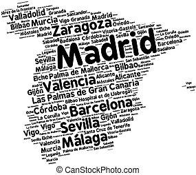 Cities of Spain word cloud - Word cloud in a shape of Spain...