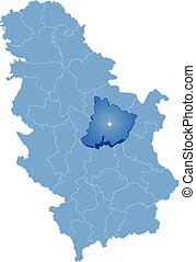 Map of Serbia, Subdivision Pomoravlje District is pulled...