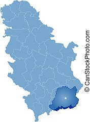 Map of Serbia, Subdivision Pcinja District is pulled out,...