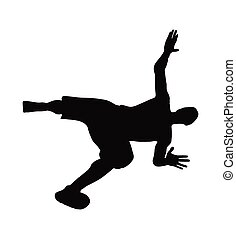 man silhouette in falling pose - vector image - man...
