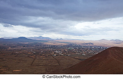 Northern Fuerteventura, overcast day, view towards Mount...
