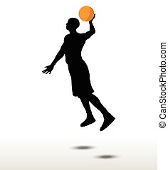 basketball player slhouette in slam pose - vector image -...