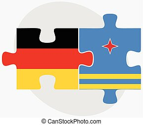 Germany and Aruba Flags in puzzle isolated on white...