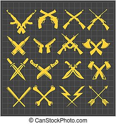 Crossed Weapons Vector Collection in dark background -...