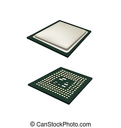 Two Computer CPU Chip on white Background