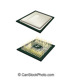 Central Processing Unit Chips on white Background
