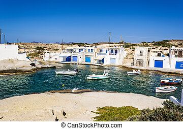 Traditional fishing village on Milos island at Greece -...