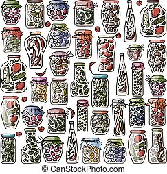 Set of pickle jars with fruits and vegetables, sketch for...