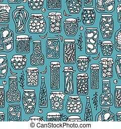 Seamless pattern with pickle jars fruits and vegetables....