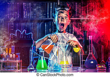 big boom - A boy doing experiments in the laboratory...