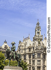 PORTO, PORTUGAL - JULY 04, 2015: Liberdade square monument...