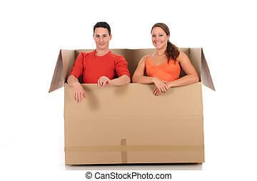 Chat box friends couple - Young couple friends in chat box,...