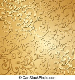 Luxury golden floral wallpaper