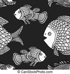 pattern - Anemonefish (Clownfish) monochrome seamless vector...