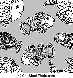 pattern - Anemonefish (Clownfish) monochrome seamless