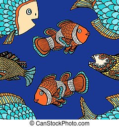 pattern - Anemonefish (Clownfish) blue seamless