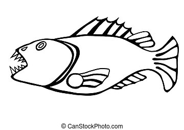 toothy fish - Monochrome Drawn hand sketch the evil toothy...