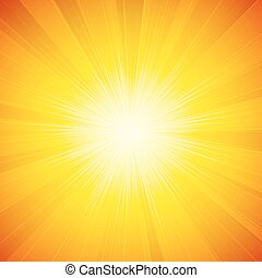 shiny sun vector - Vector orange shiny sun background with...