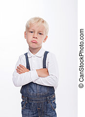 Pretty male blond child is feeling grievance - Cheerful boy...