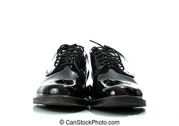 Black patent leather men shoes army isolated on white...
