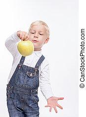 男の子, 食べること, 健康, 朗らかである, フルーツ, 小さい