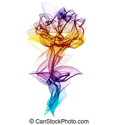 Realistic Smokey Multicolored Rose Isolated - Realistic...