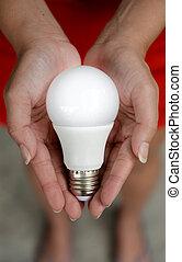 リードした, エネルギー,  -, 手, 電球, 私達の