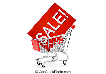 signboard with the word sale in a shopping cart - a red...